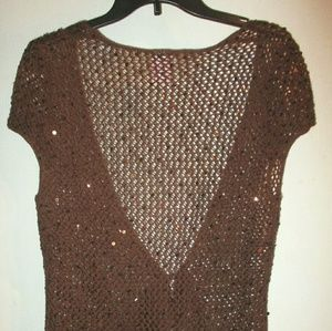 Vintage brown crocheted sequin vest